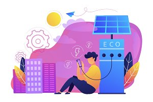 Eco recharge stations in smart city concept vector illustration.