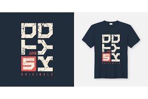Tokyo Japan textured t-shirt and apparel design, typography, pri