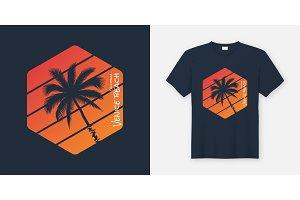 California Venice Beach t-shirt and apparel design, typography,