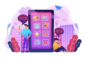 Social media and news tips, smart city concept illustration.
