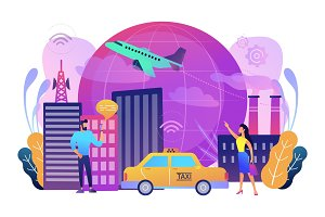 Global internet of things smart city concept vector illustration