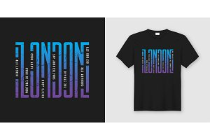 London streets stylish t-shirt and apparel design, typography, p