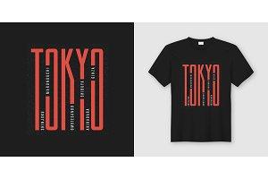 Tokyo city. T-shirt design.