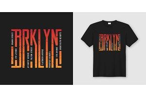 Brooklyn stylish t-shirt and apparel design, typography, print,