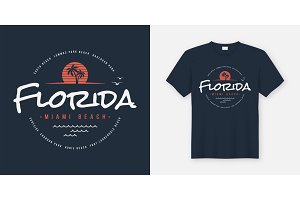 Florida Miami beach. T-shirt design.