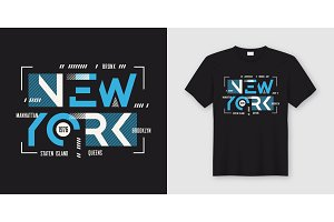 New York geometric abstract style t-shirt and apparel design, ty