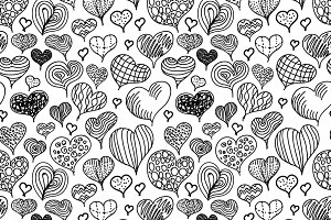 Cute doodle hand-drawn hearts