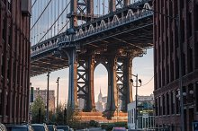 Manhattan bridge view from street by  in Architecture