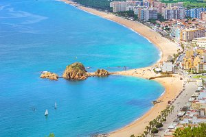 Coast beach resort Blanes, castle San Juan, Spain