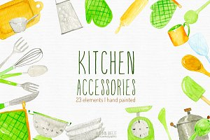 watercolor kitchen clipart
