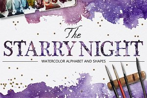 The Starry Night watercolor alphabet