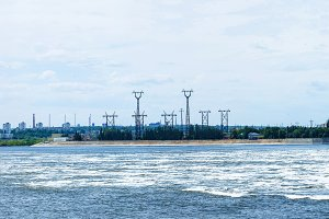 Hydroelectric power station. Water dumping. Volgograd, Volga river, Russia