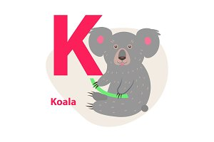 Zoo ABC Letter with Cute Koala Cartoon Vector