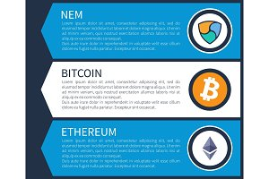 Colorful Nem, Orange Bitcoin and White Ethereum