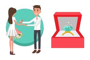 Proposal of Boyfriend Poster Vector Illustration