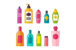 Sprays and Shampoos Poster Set Vector Illustration