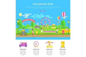 Amusement Park Poster and Text Vector Illustration