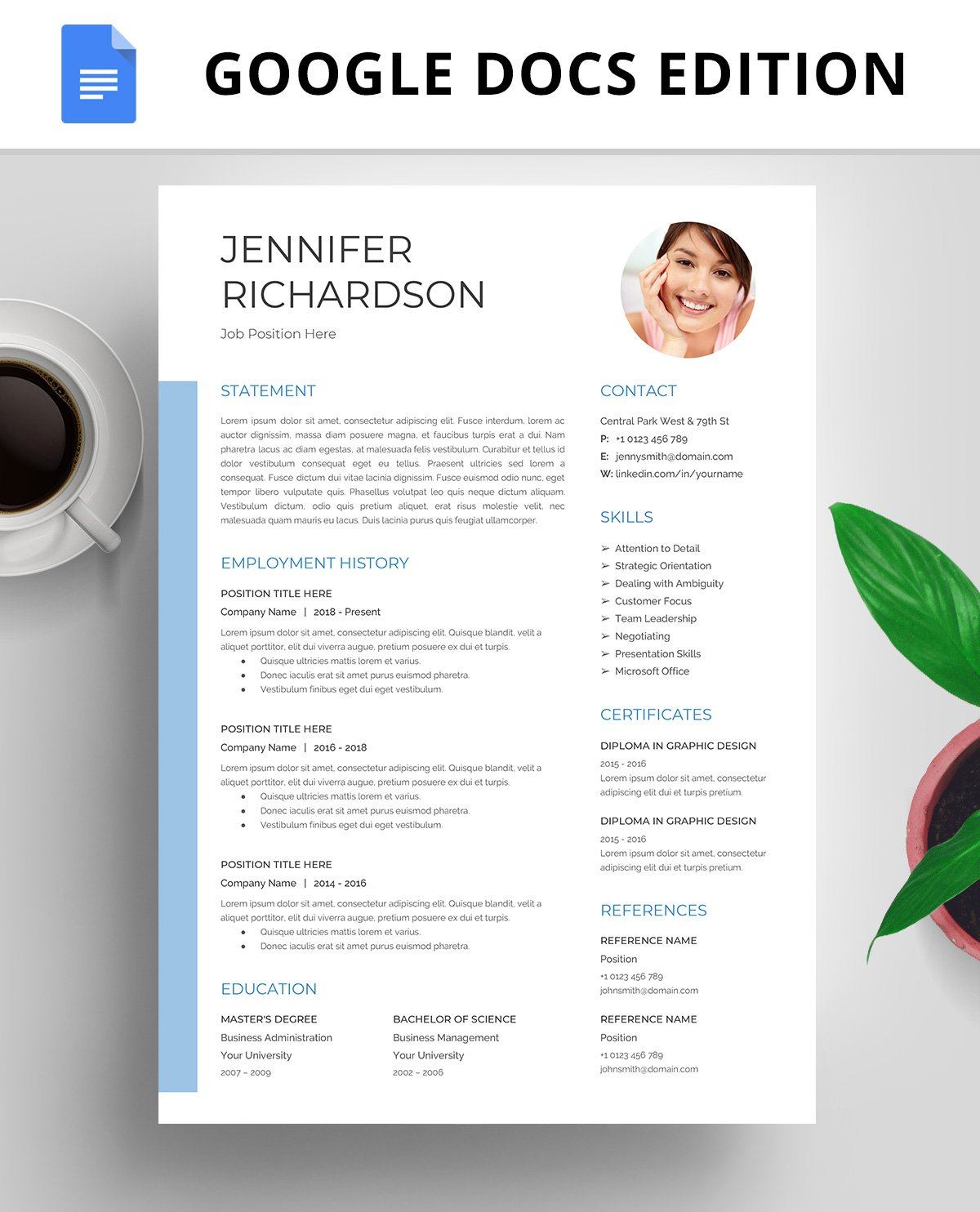 Resume Template, CV, Google Docs