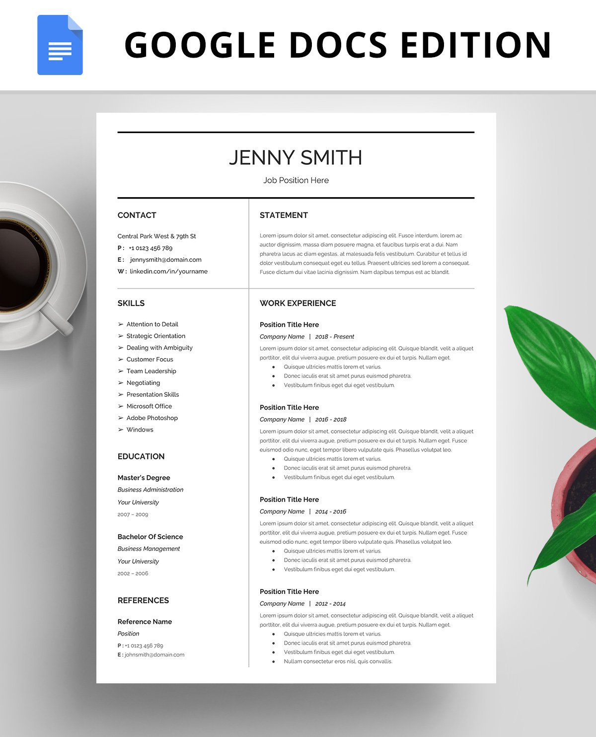 Resume Template CV Google Docs Templates Creative Market
