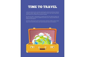 Time to Travel Poster with Open Suitcase and Globe