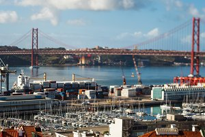 25 th April Bridge connecting Lisbon to municipality of Almada, Tejo river