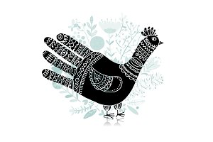Bird shape made from hand palm and fingers, ornate sketch for your design.