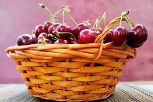 Basket of cherries on red background