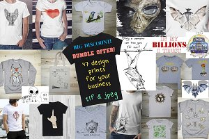 47 T-shirt Designs Bundle Offer