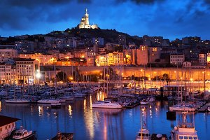 Marseille panorama at night