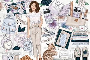 School Girlboss Fashion Clip Art