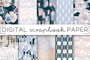 Powder Blue Lilac Abstract Papers