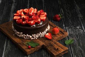 Chocolate cake with fresh strawberri
