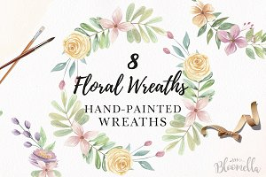 Pretty Floral 8 Wreaths Watercolor
