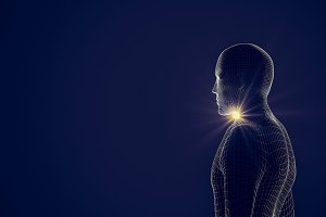 Side view of human body with light f