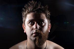 half-shaven man
