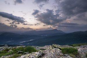 Mountain panorama during sundown