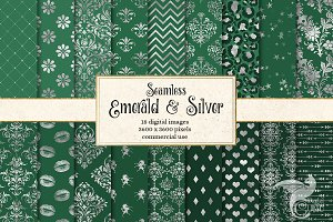Emerald and Silver Digital Paper