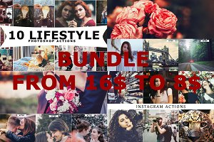 4 IN 1 Photoshop Actions Bundle June
