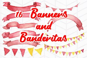 16 Watercolor Banners and Banderitas