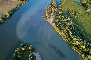 Aerial view at the river