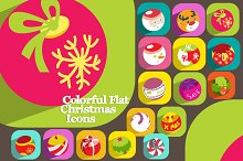 16 Colorful Flat Christmas Icons