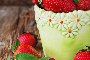 ripe strawberries in a vase