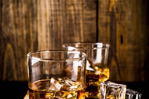 Two whiskey shot glasses