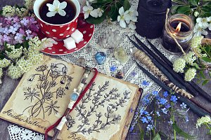 Witch diary with herbs