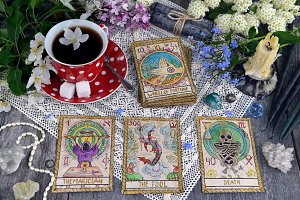 Ritual with tarot cards