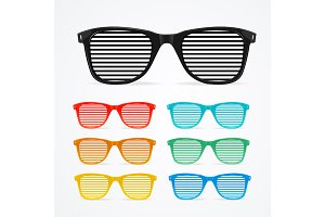 Sunglasses Striped Colorful Set