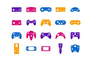 Cartoon Gamepad Set. Vector