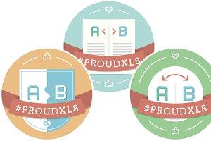 Buttons: #proudXL8