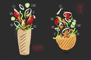 Doner kebab & shawarma. Vector