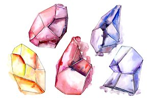 Magic crystals PNG watercolor set